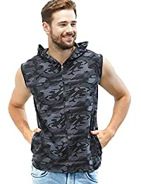 c0d49379 Men's Causal Gym Sports Wear Sleeveless Jacket T-Shirt (Style - Camouflage  Military Army