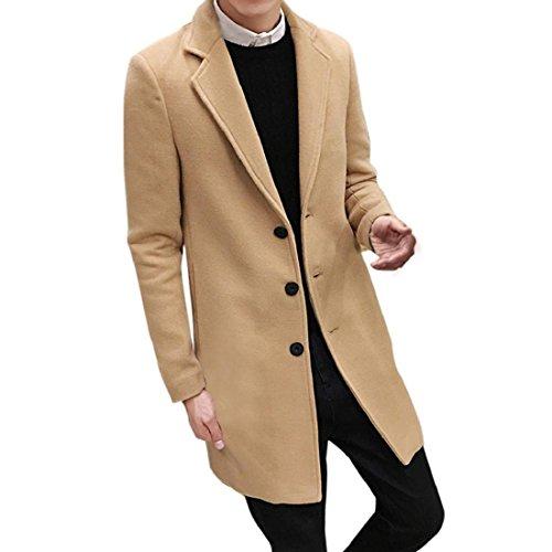 TWBB Bekleidung Herren, Mode Herbst Winter Formale Einreiher Figuring Mantel Lange Wolle Jacke Hübsche Jacke Dünne Mantel (XXXL, Khaki)