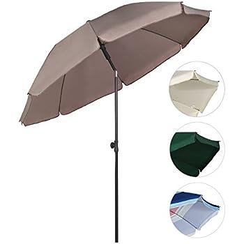 sonnenschirm creme 3m mit kurbel halbrund uv schutz 40 terrassen sonnenschirm. Black Bedroom Furniture Sets. Home Design Ideas