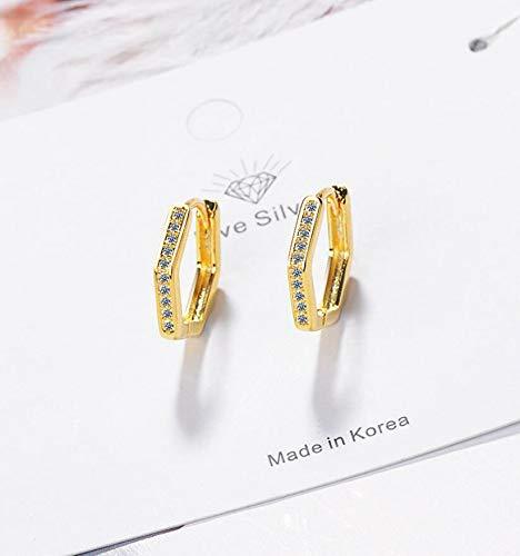 WANGJIA Pentagon Zirkon Geometrische Ohrringe Für Frauen Männer Trend Kreative 925 Sterling Silber Schmuck Party Geschenk Gold