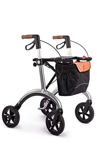 Carbon Leichtgewichts Rollator von Saljol, 5,8kg leichter faltbarer Gehwagen, integrierte Schleifbremse zur sicheren Bergab-Fahrt, star silver