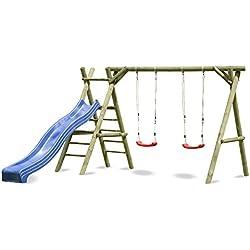 Columpio Classic de jardín con escalera y tobogán 4.2 Azul