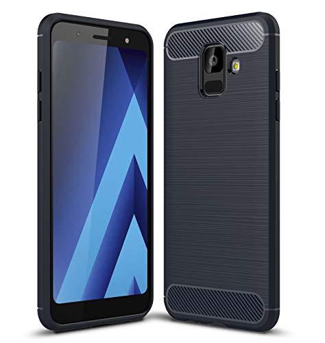 """Samsung Galaxy A6 Hülle Komtable Griffigkeit Slim-Fit Schutz vor Stößen Weiches TPU-Gel Rutschfestes Gummi [Kratzfest] für Galaxy A6 Hülle 5.6"""" inch Carbonfaser Design(Nave Blue)"""