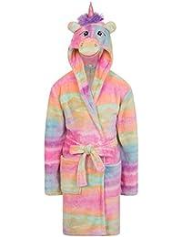 SlumberHut Mädchen Fleece Einhorn Rainbow Mehrfarbig Bademantel Luxus Flanell mit Kapuze NEUHEIT Tier Gesicht Größe EU 7 bis 13 Jahre
