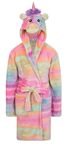 Girls Fleece Unicorn Rainbow Multicoloured Dressing Gown Luxury Flannel Hooded Novelty Animal Face Size UK 3 4 5 6 7 8 9 10 Years