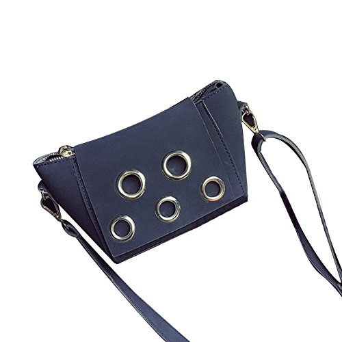 Longra Donne Retro Messenger Bag Tracolla Handbag Nero