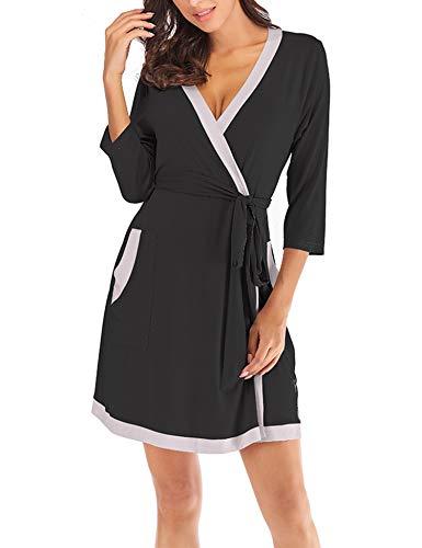 dc52767502d0 ZHENWEI Womens Cotton Robe Soft Kimono Robes Knit Bathrobe Loungewear  Sleepwear Short