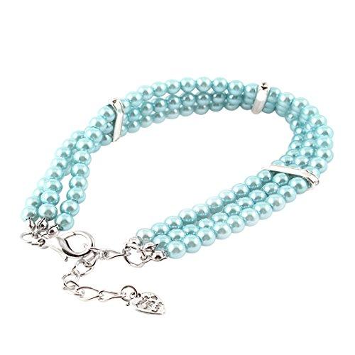 sourcingmap Himmel blau Perlen Dekor Strass Detail Hund Yorkie Halsband Halskette M (Yorkie-perle)