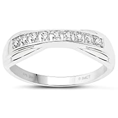 Idea Regalo - Collezione di Anelli di Diamanti: Anello 9ct in Oro Bianco e Diamanti , Anello di eternita, misura dell'anello17,5