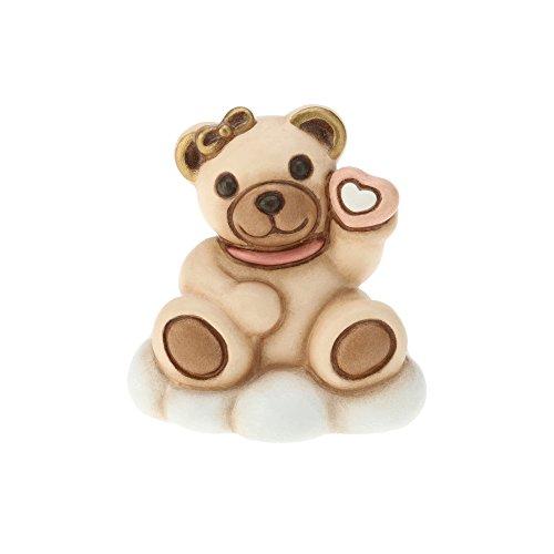 Thun ® - orsetto teddy lei su nuvola - bomboniera bimba rosa - ceramica - h 5 cm - linea i classici