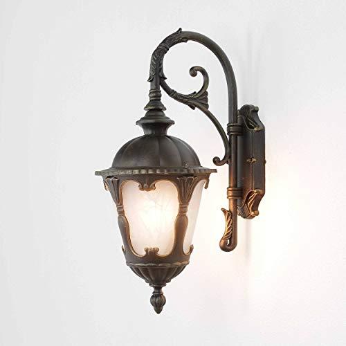 Wandleuchte aussen/Lampe Gold / 1x E27 bis zu 60W / Laterne 46cm hoch/Außen Lampe/Garten Terrasse Hauswandleuchte -