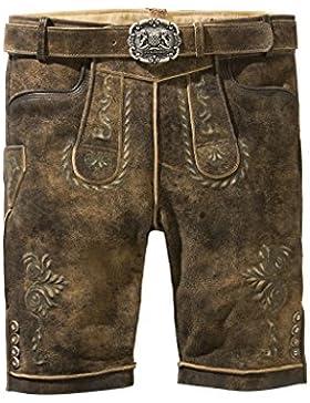Stockerpoint - Herren Trachten Lederhose mit Gürtel in Braun antik, Sepp