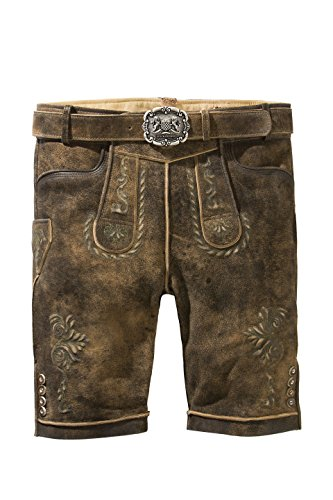 Stockerpoint - Herren Trachten Lederhose mit Gürtel in Braun antik, Sepp, Farbe:Braunantik;Größe:56
