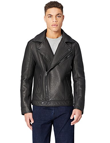 FIND Herren Biker-Jacke in Leder-Optik, Grau, Large