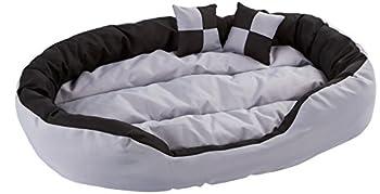 dibea Lit/Coussin/Canapé Lavable avec Coussin Réversible pour Chien Gris/Noir 110 x 80 x 23 cm