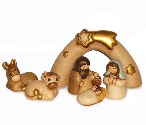 Thun mini presepe sacra famiglia, ceramica, variopinto