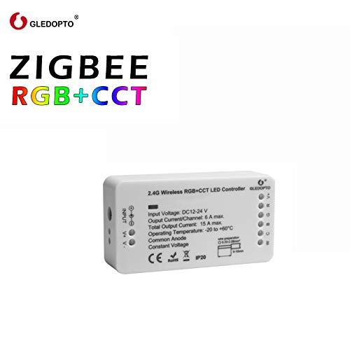 Wokee ZIBEE RGB WiFi Wireless-LED-Controller für RGB-LED-Streifenlichter kompatibel mit Alexa Google-Startseite IFTTT, Unterstützung für Android IOS-System (ZIGBEE RGB + CCT-Controller) Ir-drucker Adapter