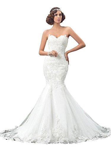 Annxrose Damen Lange Schulterfrei Spitze Appliques Tüll Meerjungfrau Brautkleid Hochzeitskleid mit...