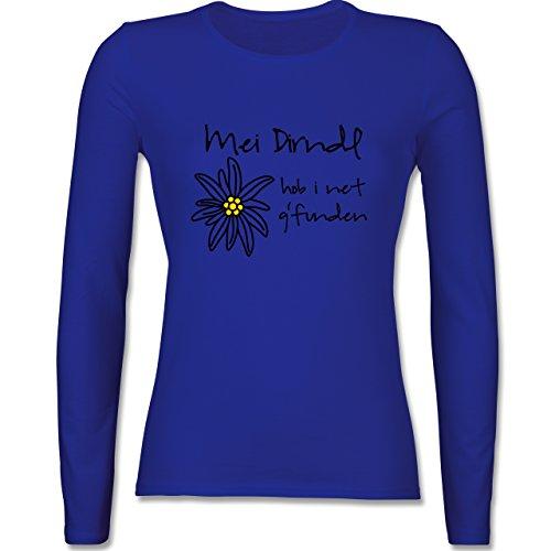Oktoberfest Damen - Dirndl net g'funden - Shirt statt Dirndl - tailliertes Longsleeve / langärmeliges T-Shirt für Damen Royalblau
