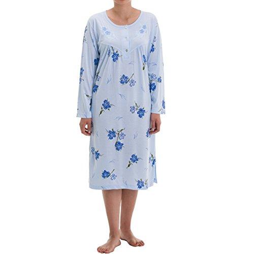 LUCKY Zeitlos Damen Nachthemd Alicia mit Blumen Druck, Größe:XL;Farbe:Hellblau