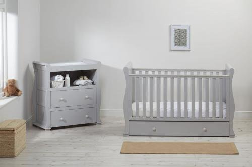 East Coast Alaska Sleigh 2 Piece Nursery Room Set with Under Drawer and Sprung Mattress - Grey East Coast  2