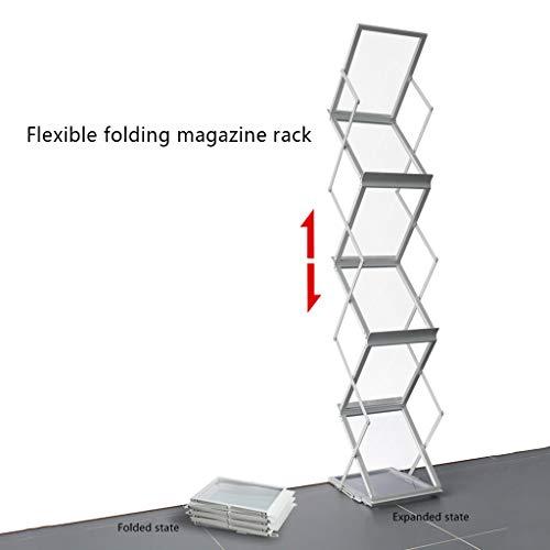 Porte-revues Magazine Cadre Pliant Information Cadre De Journaux De Stockage De Stockage De Livre Rack De Fer De Plancher Propagande Présentoir (Color : Silver, Size : 36 * 26.5 * 149cm)
