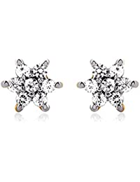 Carats For You 22KT Yellow Gold And Cubic Zirconia Stud Earrings For Women