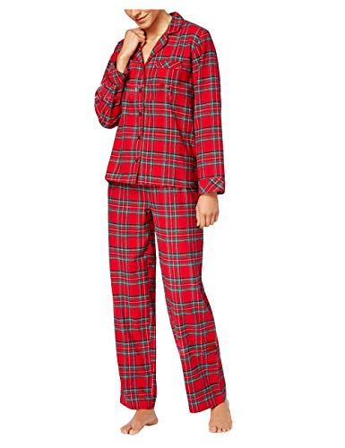 BESBOMIG Matching Family Christmas Pyjama Set - Parent-Child Christmas Clothes Polyester Red Plaid Printing Long Sleeve T-Shirt Daddy Mom and Son Daughter Family Pajamas