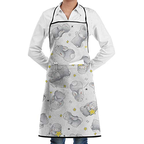 dfgjfgjdfj Happy Bunnies Schürze Lace Adult Mens Womens Chef Adjustable Polyester Long Full Black Cooking Kitchen Schürzes Bib with Pockets for Restaurant Baking Crafting Gardening BBQ - Full Bunny Kostüm