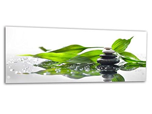 XXL Glasbild AG312500496 MURAL STEINTURM BAMBUS 125 x 50 cm / WANDBILD Deco Glass / Handmade