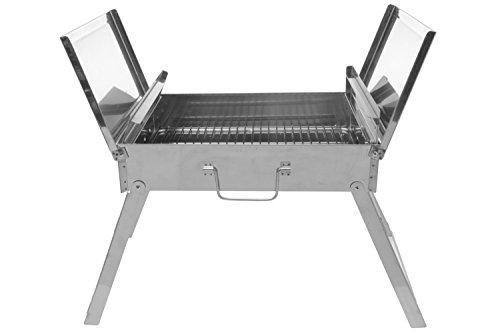 Mustang Klappgrill | BBQ Holzkohlegrill | Reisegrill | Tischgrill | Picknick Campinggrill | Partygrill | Edelstahl poliert | 4,9 kg