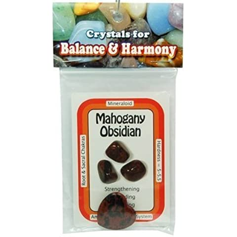 Mahogany Obsidian Heart - Special - XS Heart w/Crystal Card - 2pc. Bag by Healing Crystals - Bag Obsidian