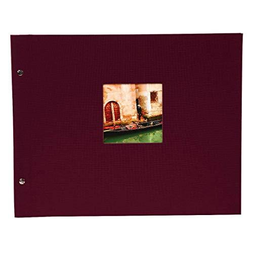 Goldbuch Schraubalbum mit Fensterausschnitt, Bella Vista, 39 x 31 cm, 40 weiße Seiten mit Pergamin-Trennblättern, Erweiterbar, Leinen, Bordeaux, 28892