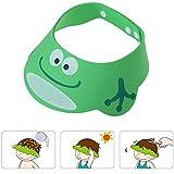 Gorro Ducha para Bebé Sombrero Ajustable del Baño Champú Casquillo Infantil Suave Creativo Animado para Niños para Lavarse el Pelo, Verde