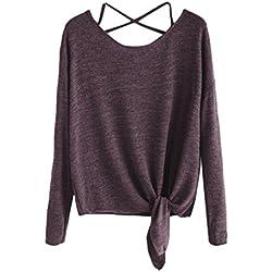 Blusa de Moda Verano Mujer, Camiseta de Blusa con Cuello en V de Manga Larga para Mujer(S,Vino)