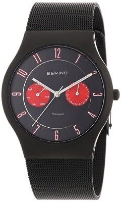 Reloj Bering Classic de caballero de cuarzo con correa de acero inoxidable negra - sumergible a 50 metros de Bering