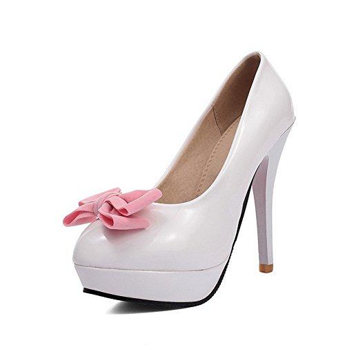 VogueZone009 Damen Rein Stiletto Ziehen Auf Rund Schließen Zehe Pumps Schuhe Weiß