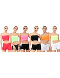 145d0397b9 Crazy Chick 6 Pack Sexy Women Plain Assorted Colour Boob Tube Bandeau  Strapless Stretch Yoga Sports