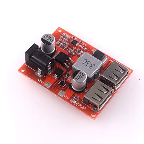 HW-681 LM2596S Dual USB Paso hacia abajo del módulo 5V 3A DC-DC convertidor de voltaje (rojo)