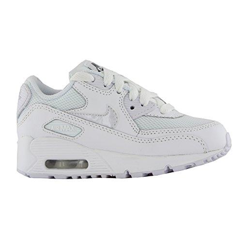 Nike Ar Max Jovens Malha 90 (ps) Sapatos De Corrida, Preto, 5,27 Ue Branco / Cinza (cinzento Branco-frio Branco)