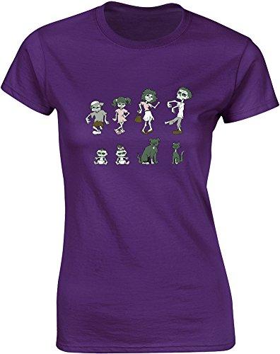 Zombie Family, Gedruckt Frauen T-Shirt - Lila/Transfer S = 78-81cm