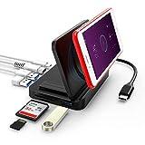 LETSCOM USB C Hub, 8 in 1 USB C Adapter mit Wireless Charger, 4K HDMI, USB C Ladeanschluss, 3 USB 3.0 Anschlüsse, SD/TF Kartenleser, kompatibel für USB C Geräte