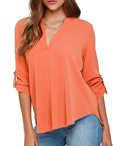 FemPool Damen Bluse Gr. Small, Orange - Orange (Neck Metallic Cowl)