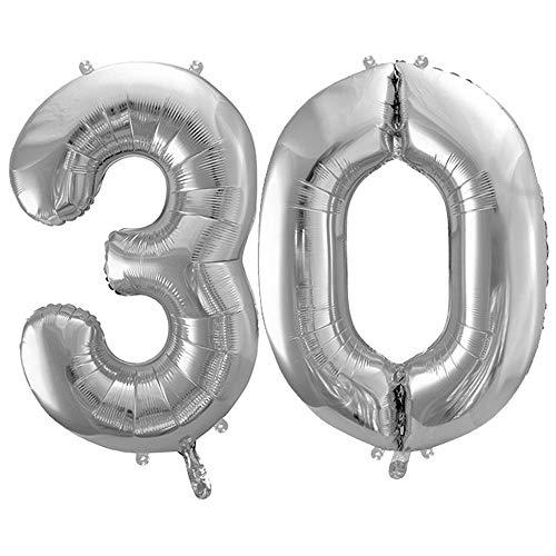balloonfantasy Partyboutique Balloon Fantasy Zahlen Luftballon Set XXL | Geburtstagsdeko (Silber, 30)