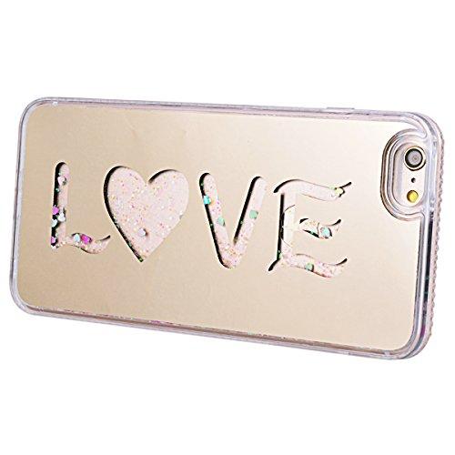 HB-Int Glitzer Hülle für iPhone 6 / 6S Schutzhülle TPU Bumper Bling Diamant Rahmen Luxus Sparkle Backcover Handyhülle Tasche Glänz Etui - Love Silber Love Gold