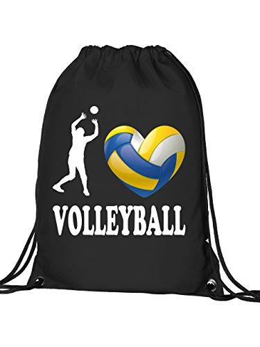 I Love Volleyball 4461 Sport Fan Turnbeutel mit verstärkten Ecken und Metallösen Schwarz