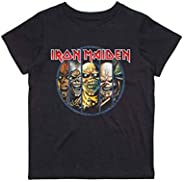 Rock Off Iron Maiden Kids T Shirt Evolution Band Logo Nuovo Ufficiale Nero Ages 5-14 Yrs