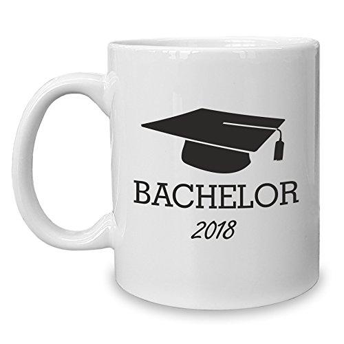 Shirt Department - Kaffeebecher - Tasse - Bachelor 2018 weiss-schwarz