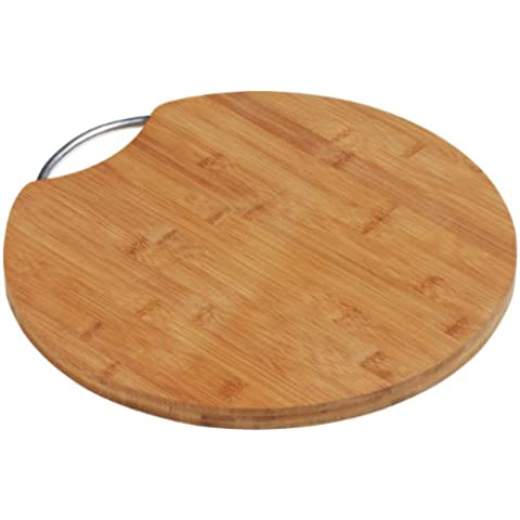 Tajadera-Tagliere in legno di bambù con manico & forma rotonda, in alluminio