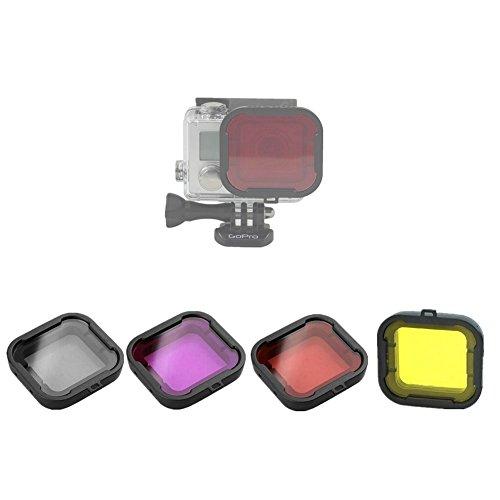 Hensych® 4 Tauchen Filter für GoPro Hero 3 + 4 Kamera Gehäuse Fall Unterwasser Objektiv Konverter